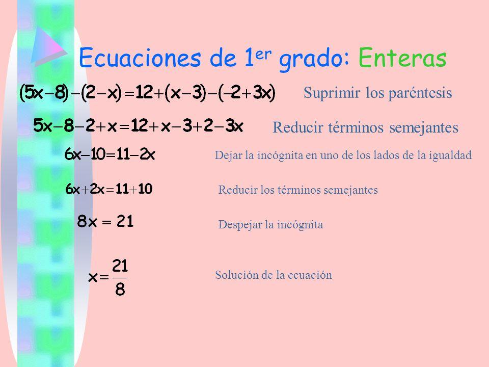 Ecuaciones de 1er grado: Enteras