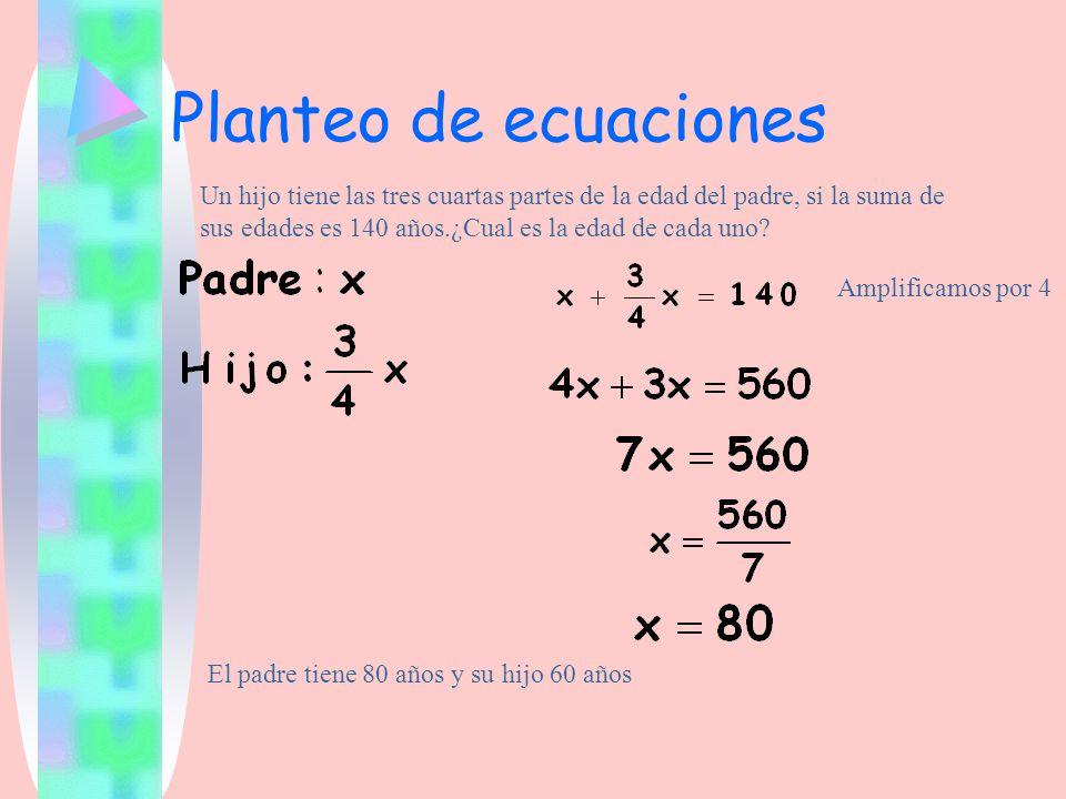 Planteo de ecuaciones Un hijo tiene las tres cuartas partes de la edad del padre, si la suma de sus edades es 140 años.¿Cual es la edad de cada uno