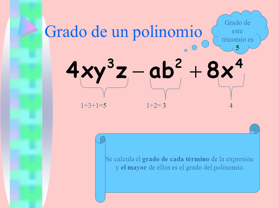 Grado de un polinomio Grado de este trinomio es 5 1+3+1=5 1+2= 3 4