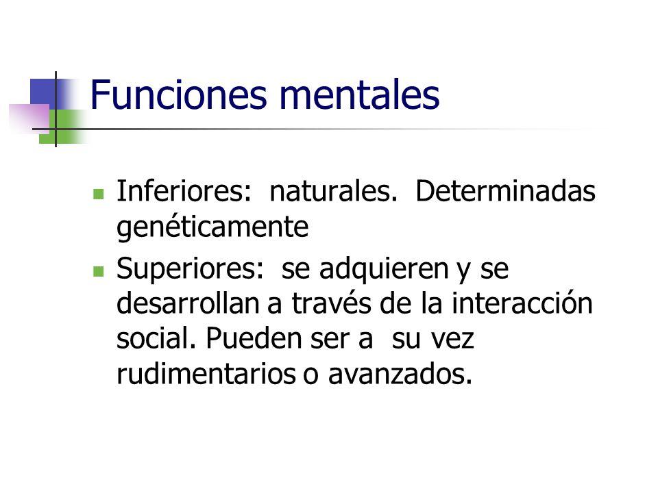 Funciones mentales Inferiores: naturales. Determinadas genéticamente