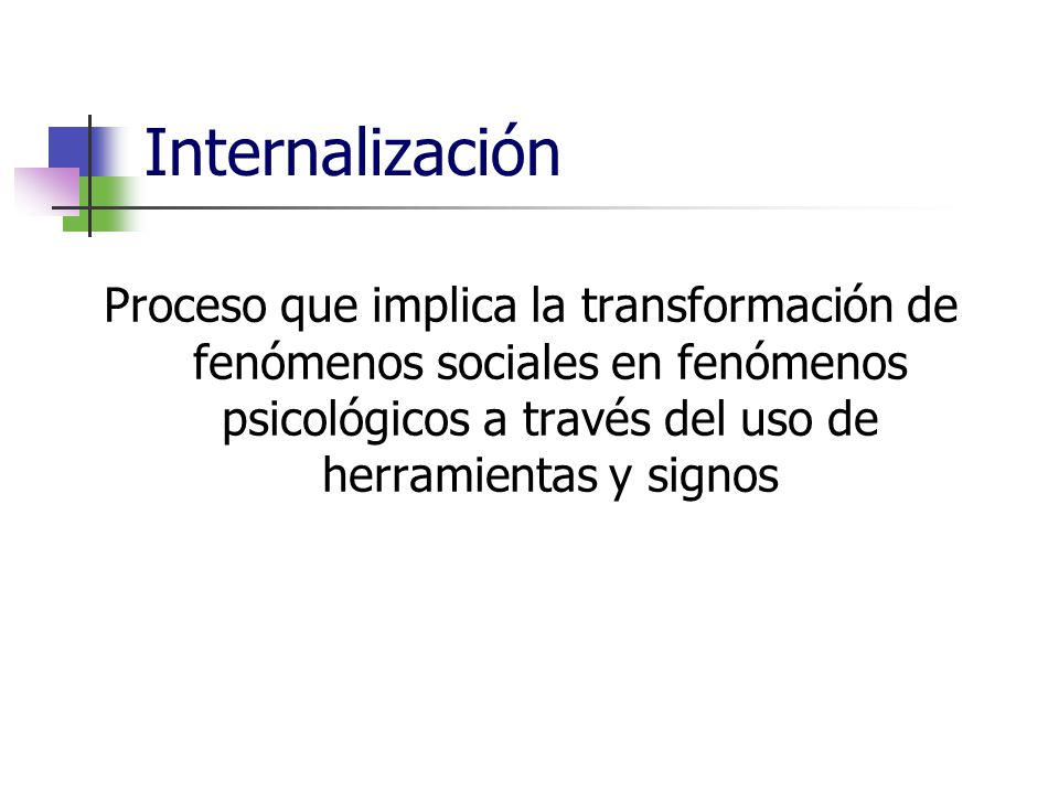 Internalización Proceso que implica la transformación de fenómenos sociales en fenómenos psicológicos a través del uso de herramientas y signos.