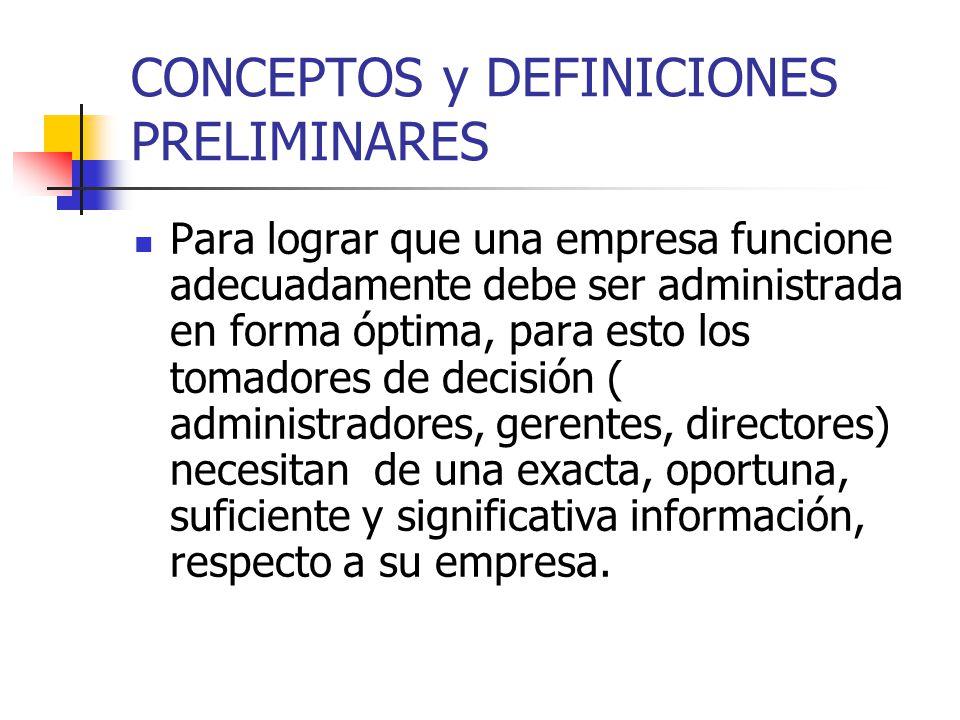 CONCEPTOS y DEFINICIONES PRELIMINARES