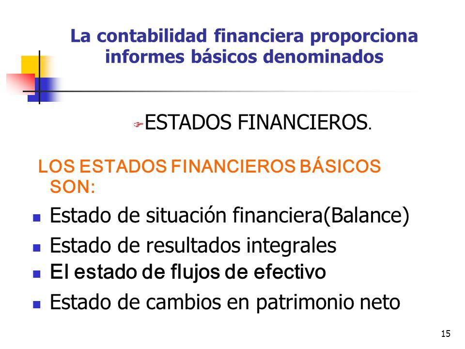La contabilidad financiera proporciona informes básicos denominados