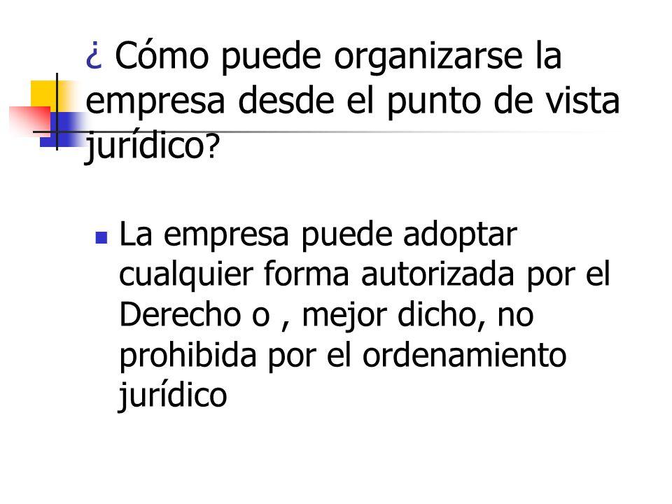 ¿ Cómo puede organizarse la empresa desde el punto de vista jurídico