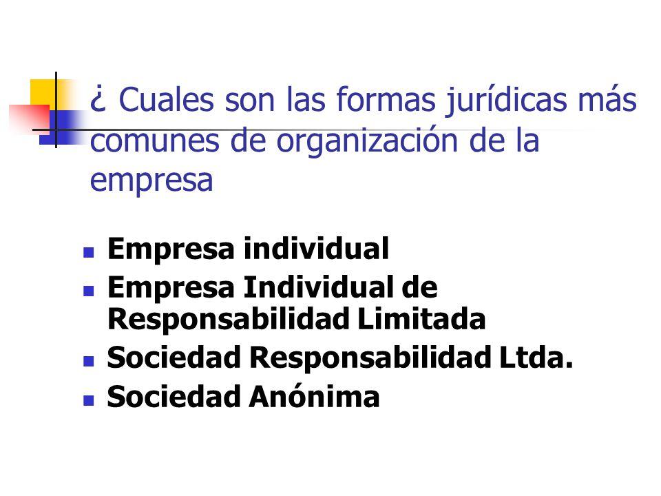 ¿ Cuales son las formas jurídicas más comunes de organización de la empresa