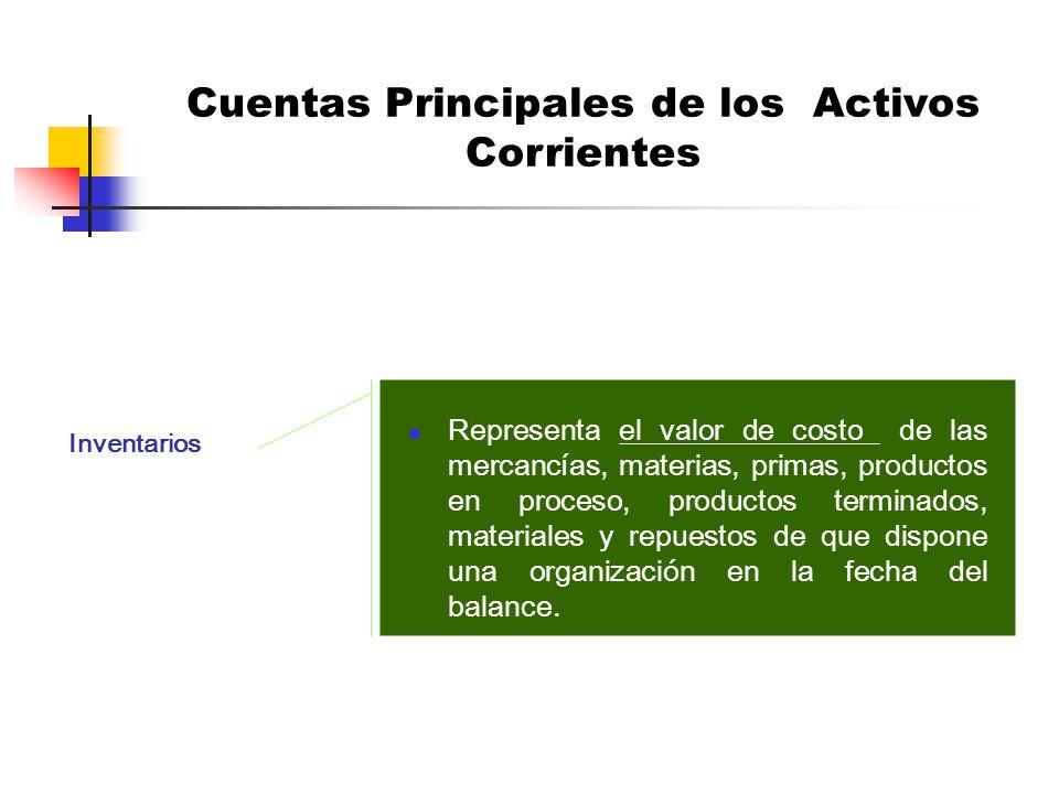 Cuentas Principales de los Activos Corrientes