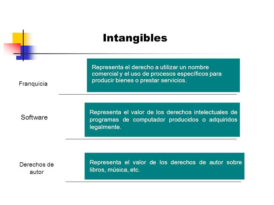 Intangibles Representa el derecho a utilizar un nombre comercial y el uso de procesos específicos para producir bienes o prestar servicios.