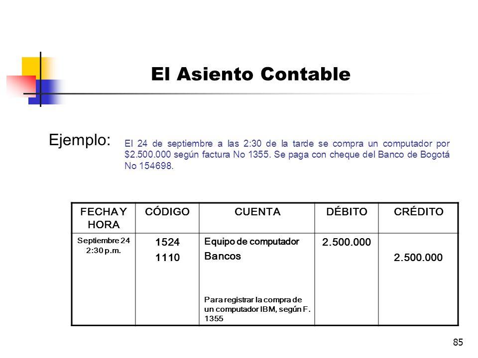 El Asiento Contable Ejemplo: FECHA Y HORA CÓDIGO CUENTA DÉBITO CRÉDITO