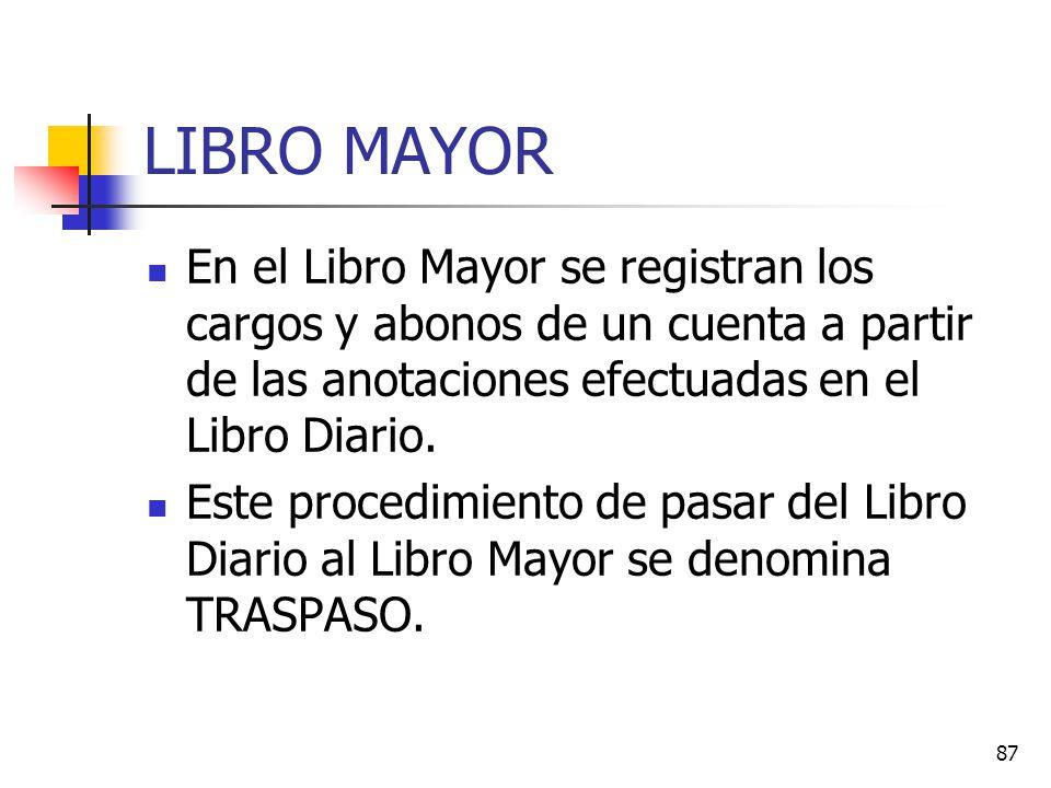 LIBRO MAYOR En el Libro Mayor se registran los cargos y abonos de un cuenta a partir de las anotaciones efectuadas en el Libro Diario.
