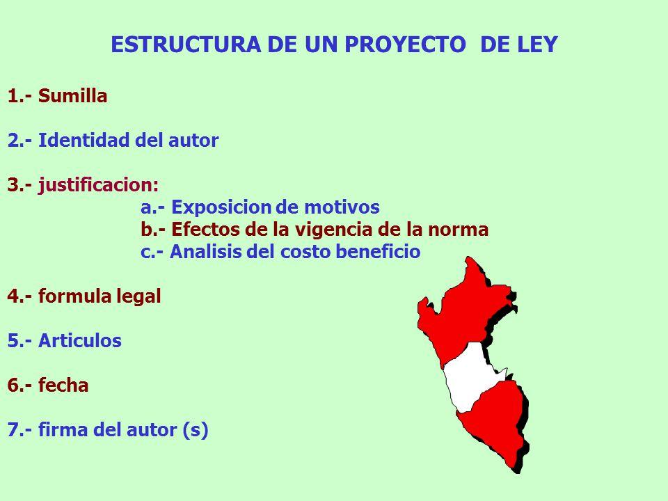 ESTRUCTURA DE UN PROYECTO DE LEY