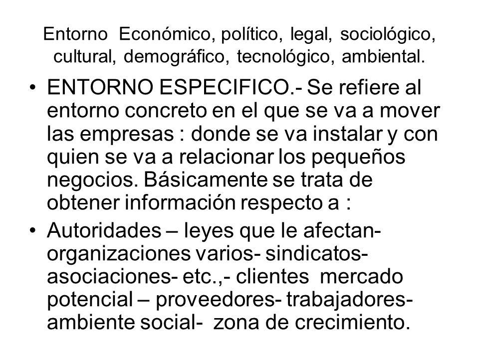 Entorno Económico, político, legal, sociológico, cultural, demográfico, tecnológico, ambiental.