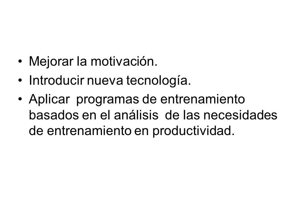 Mejorar la motivación. Introducir nueva tecnología.