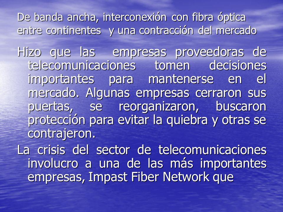 De banda ancha, interconexión con fibra óptica entre continentes y una contracción del mercado