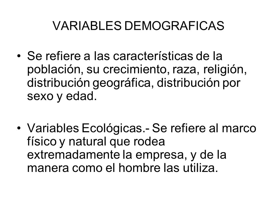 VARIABLES DEMOGRAFICAS
