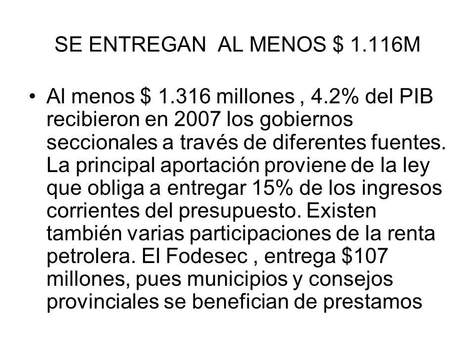 SE ENTREGAN AL MENOS $ 1.116M