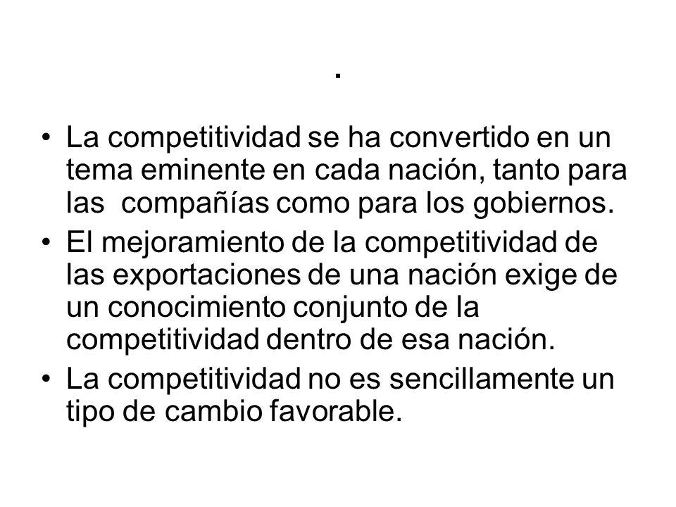 . La competitividad se ha convertido en un tema eminente en cada nación, tanto para las compañías como para los gobiernos.