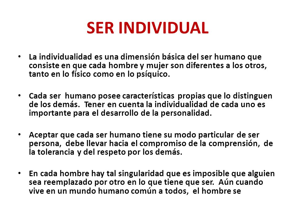 SER INDIVIDUAL