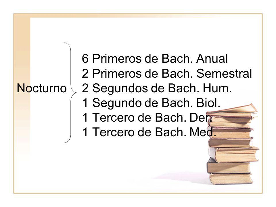 6 Primeros de Bach. Anual. 2 Primeros de Bach. Semestral Nocturno