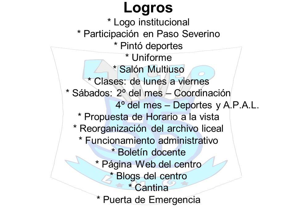 Logros. Logo institucional. Participación en Paso Severino