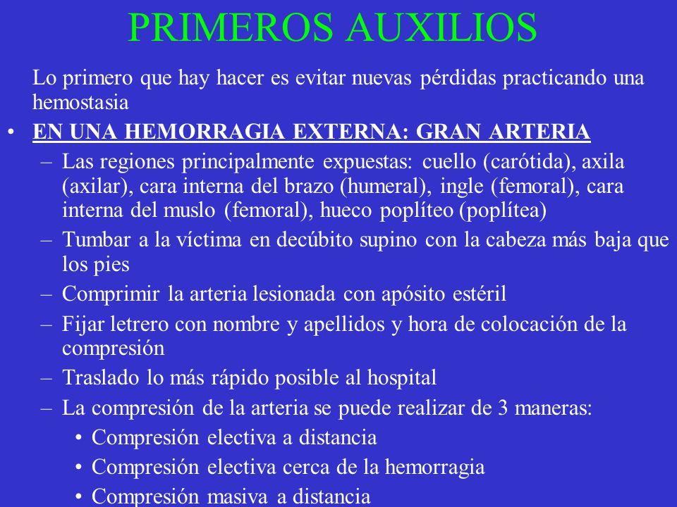 PRIMEROS AUXILIOS EN UNA HEMORRAGIA EXTERNA: GRAN ARTERIA