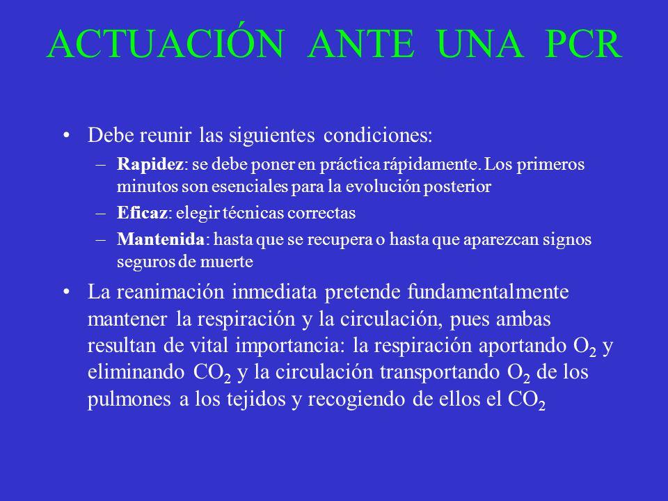ACTUACIÓN ANTE UNA PCR Debe reunir las siguientes condiciones: