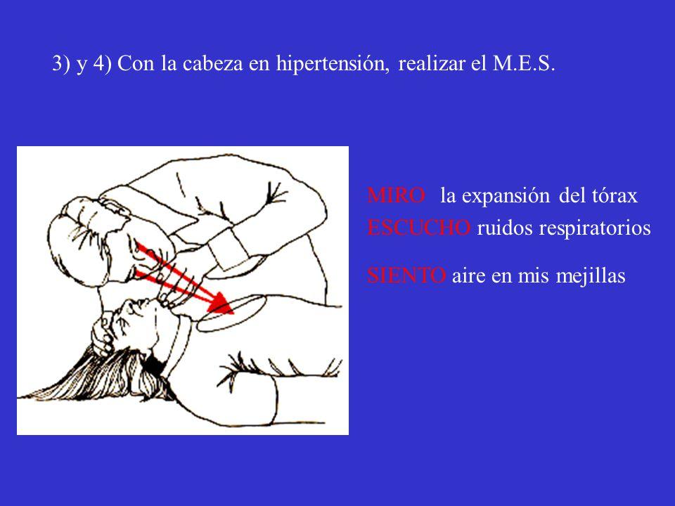 3) y 4) Con la cabeza en hipertensión, realizar el M.E.S.
