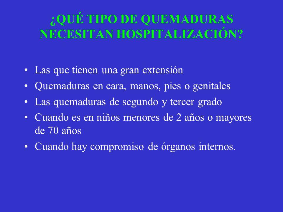 ¿QUÉ TIPO DE QUEMADURAS NECESITAN HOSPITALIZACIÓN