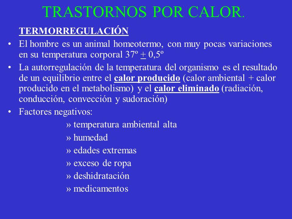 TRASTORNOS POR CALOR. TERMORREGULACIÓN. El hombre es un animal homeotermo, con muy pocas variaciones en su temperatura corporal 37º + 0,5º.