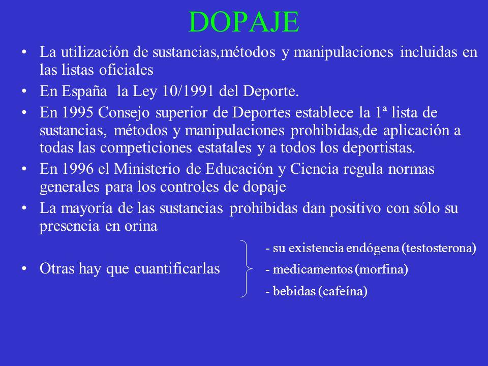 DOPAJE La utilización de sustancias,métodos y manipulaciones incluidas en las listas oficiales. En España la Ley 10/1991 del Deporte.