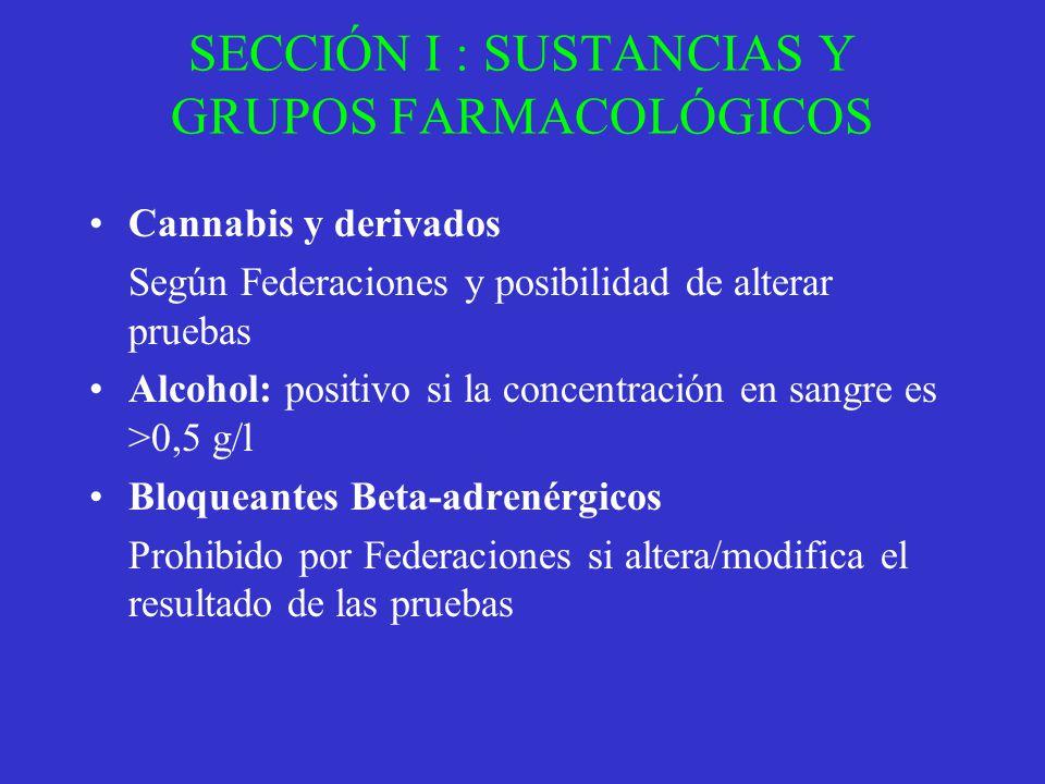 SECCIÓN I : SUSTANCIAS Y GRUPOS FARMACOLÓGICOS