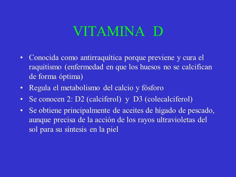 VITAMINA D Conocida como antirraquítica porque previene y cura el raquitismo (enfermedad en que los huesos no se calcifican de forma óptima)