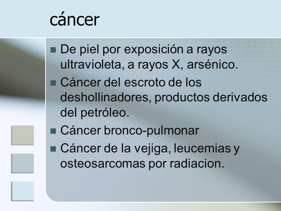 cáncer De piel por exposición a rayos ultravioleta, a rayos X, arsénico.