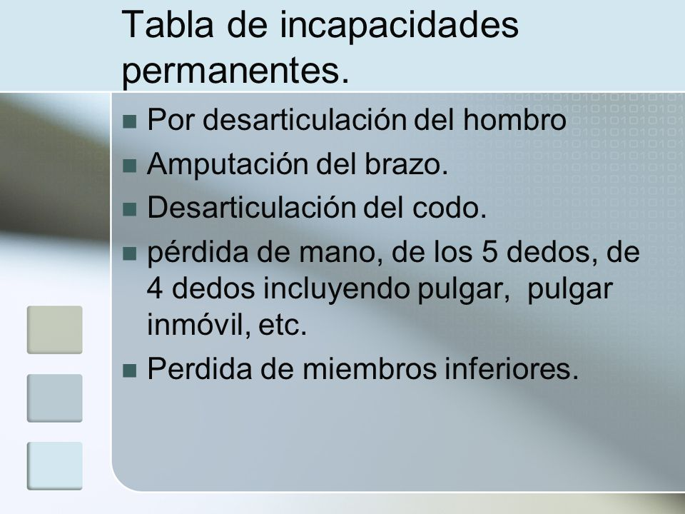 Tabla de incapacidades permanentes.
