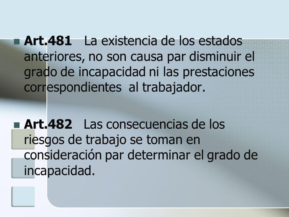 Art.481 La existencia de los estados anteriores, no son causa par disminuir el grado de incapacidad ni las prestaciones correspondientes al trabajador.