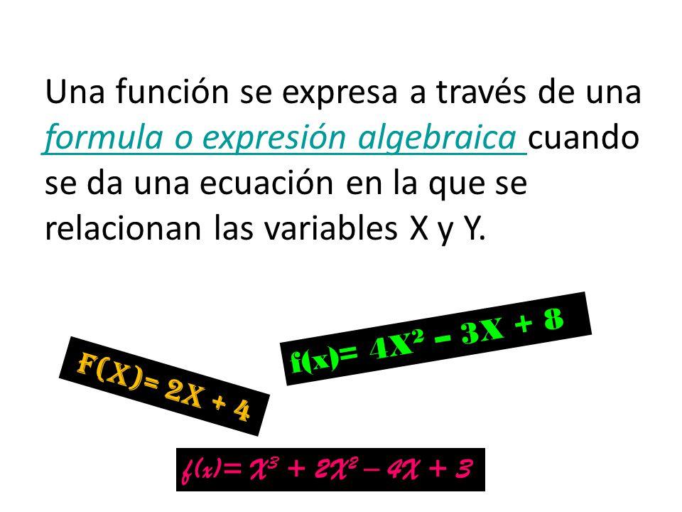 Una función se expresa a través de una formula o expresión algebraica cuando se da una ecuación en la que se relacionan las variables X y Y.