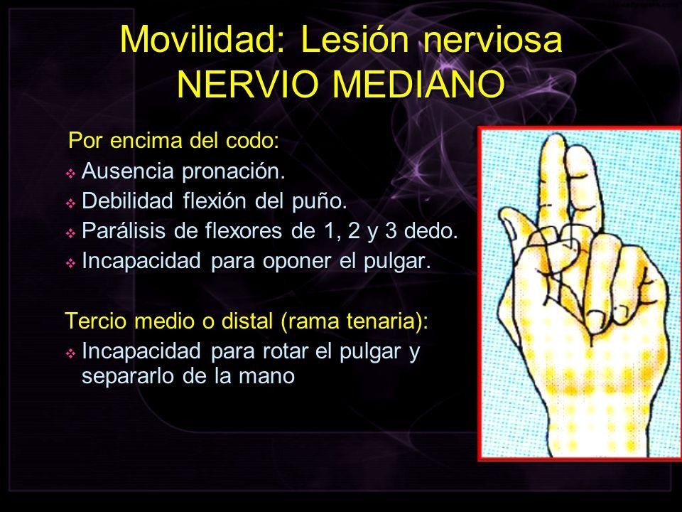 Movilidad: Lesión nerviosa NERVIO MEDIANO