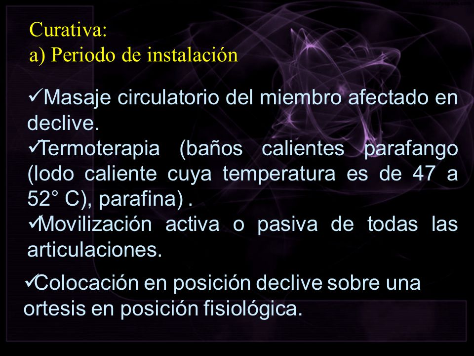 Curativa: a) Periodo de instalación. Masaje circulatorio del miembro afectado en declive.