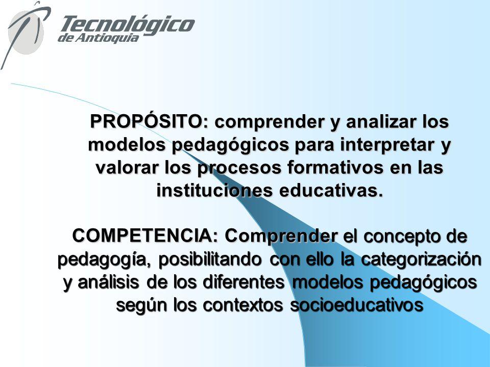 PROPÓSITO: comprender y analizar los modelos pedagógicos para interpretar y valorar los procesos formativos en las instituciones educativas.