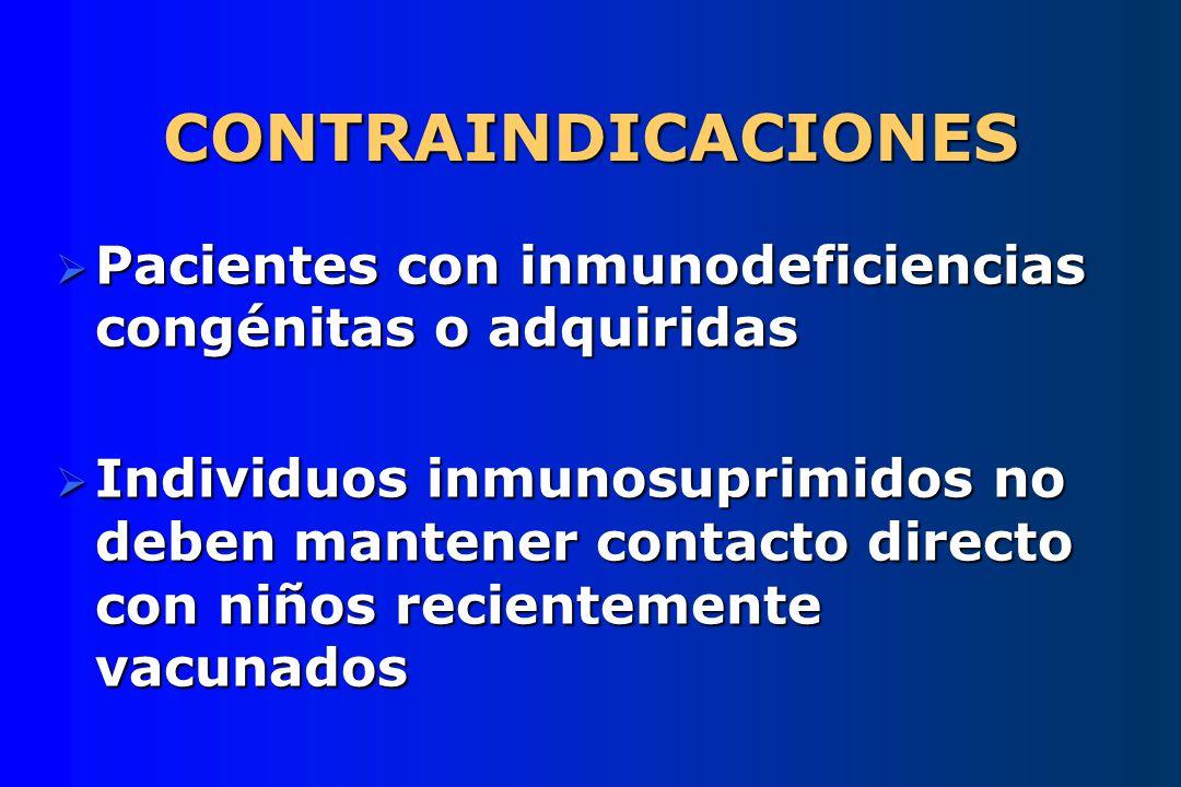CONTRAINDICACIONES Pacientes con inmunodeficiencias congénitas o adquiridas.