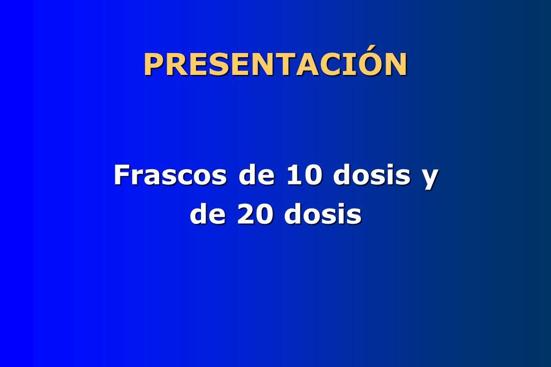 PRESENTACIÓN Frascos de 10 dosis y de 20 dosis