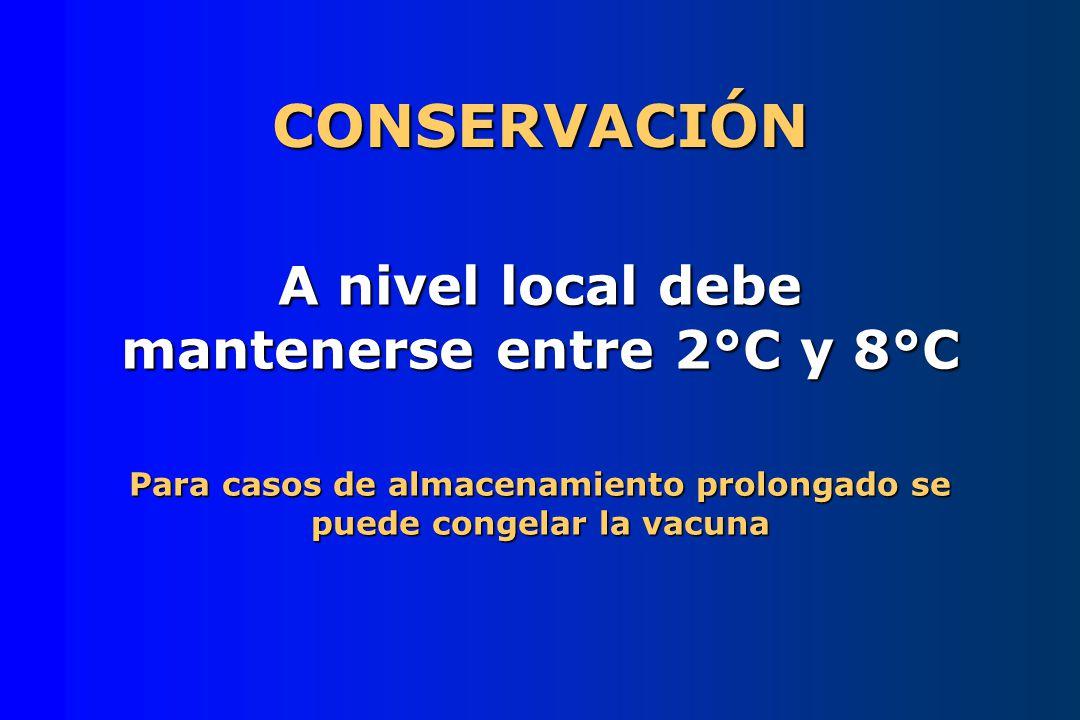 CONSERVACIÓN A nivel local debe mantenerse entre 2°C y 8°C