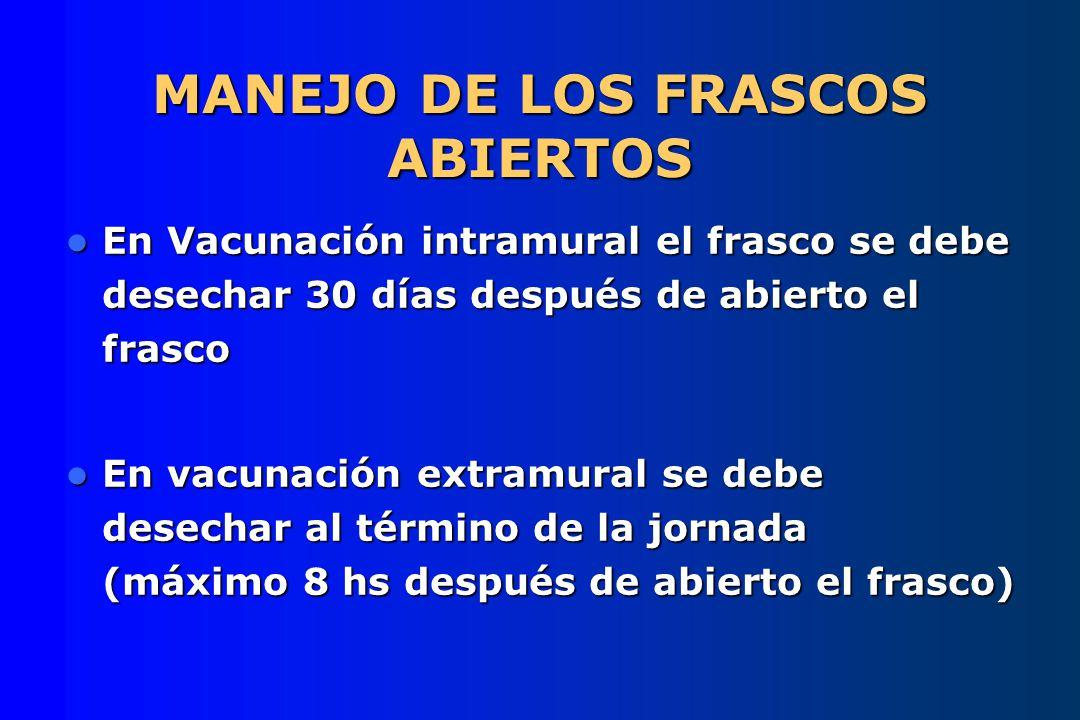 MANEJO DE LOS FRASCOS ABIERTOS