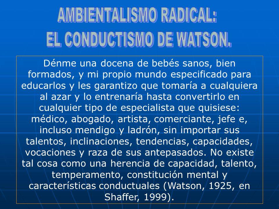 AMBIENTALISMO RADICAL: EL CONDUCTISMO DE WATSON.