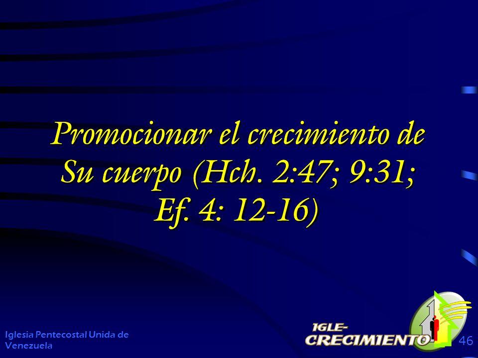 Promocionar el crecimiento de Su cuerpo (Hch. 2:47; 9:31; Ef. 4: 12-16)