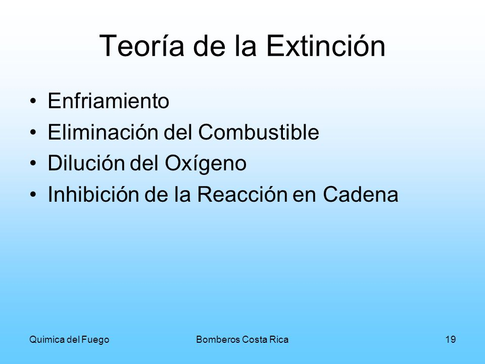 Teoría de la Extinción Enfriamiento Eliminación del Combustible