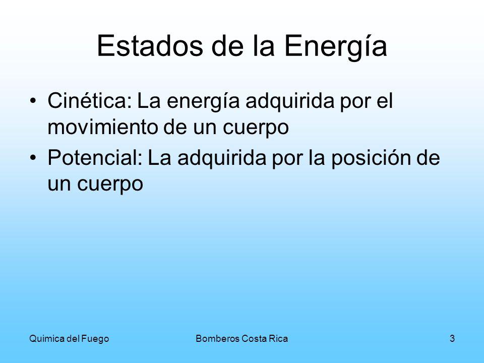 Estados de la Energía Cinética: La energía adquirida por el movimiento de un cuerpo. Potencial: La adquirida por la posición de un cuerpo.
