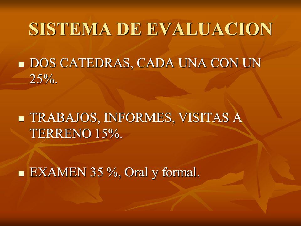 SISTEMA DE EVALUACION DOS CATEDRAS, CADA UNA CON UN 25%.