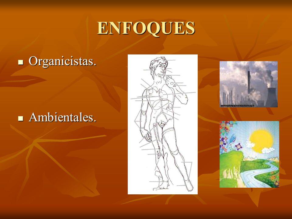 ENFOQUES Organicistas. Ambientales.