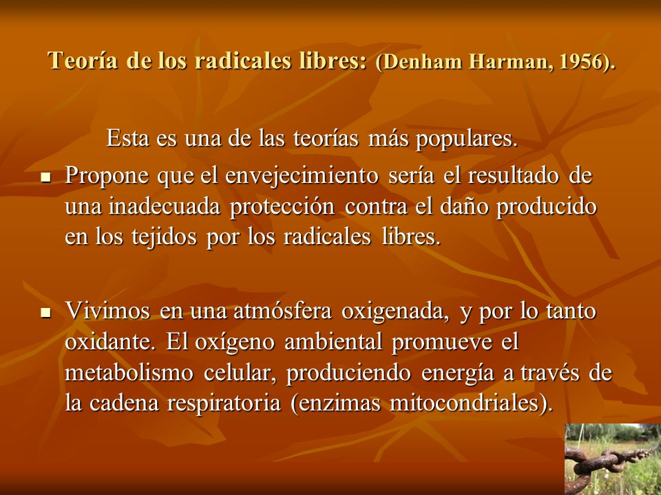 Teoría de los radicales libres: (Denham Harman, 1956).