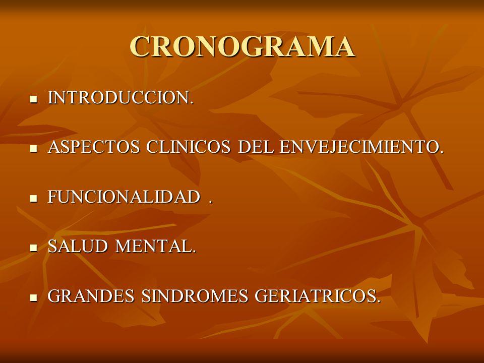 CRONOGRAMA INTRODUCCION. ASPECTOS CLINICOS DEL ENVEJECIMIENTO.